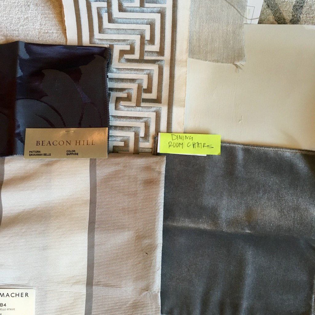 Fabrics for the dining room space. Dana Wolter Interiors