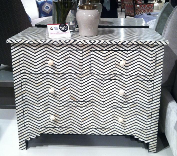The Herringbone Dresser with bone inlay by Deb Dagenais.